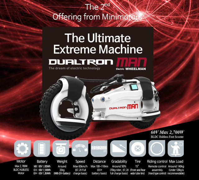 Minimotors Dualtron Wheelman 2700 W 65 Km H Electric Scooter New Model 2016 Free Shipping Lithium Battery Bycicle
