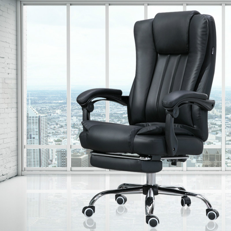 Cowhide Computer Chair Home Leather Office Chair Fabric Swivel Lifting Gaming Chair Massage Function Silla Oficina Cadeira Gamer