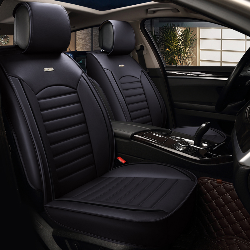 NEW Luxury PU Leather Black Color Car Seat Cover Front Seat Cover Protector Set