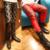 Preto calças vermelhas cor Rossoneri rebite calças de couro apertadas cintura baixa xadrez masculino magro calças skinny masculina para o cantor dançarino bar