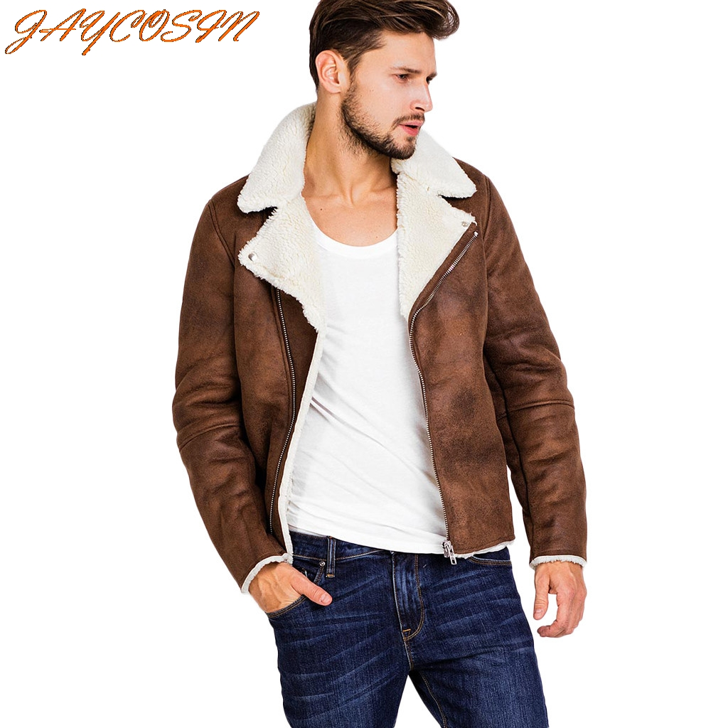 JAYCOSIN Hot High Quality Fashion Design Men Autumn Winter Highneck Warm Fur Liner Lapel Leather Zipper Outwear Top Coat New