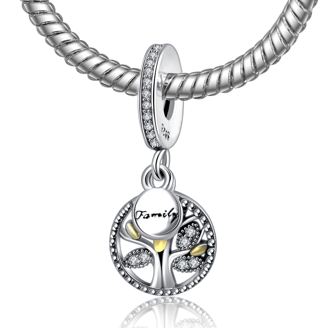 2017 Authentic 925 Sterling Silver Family Tree Charm Beads
