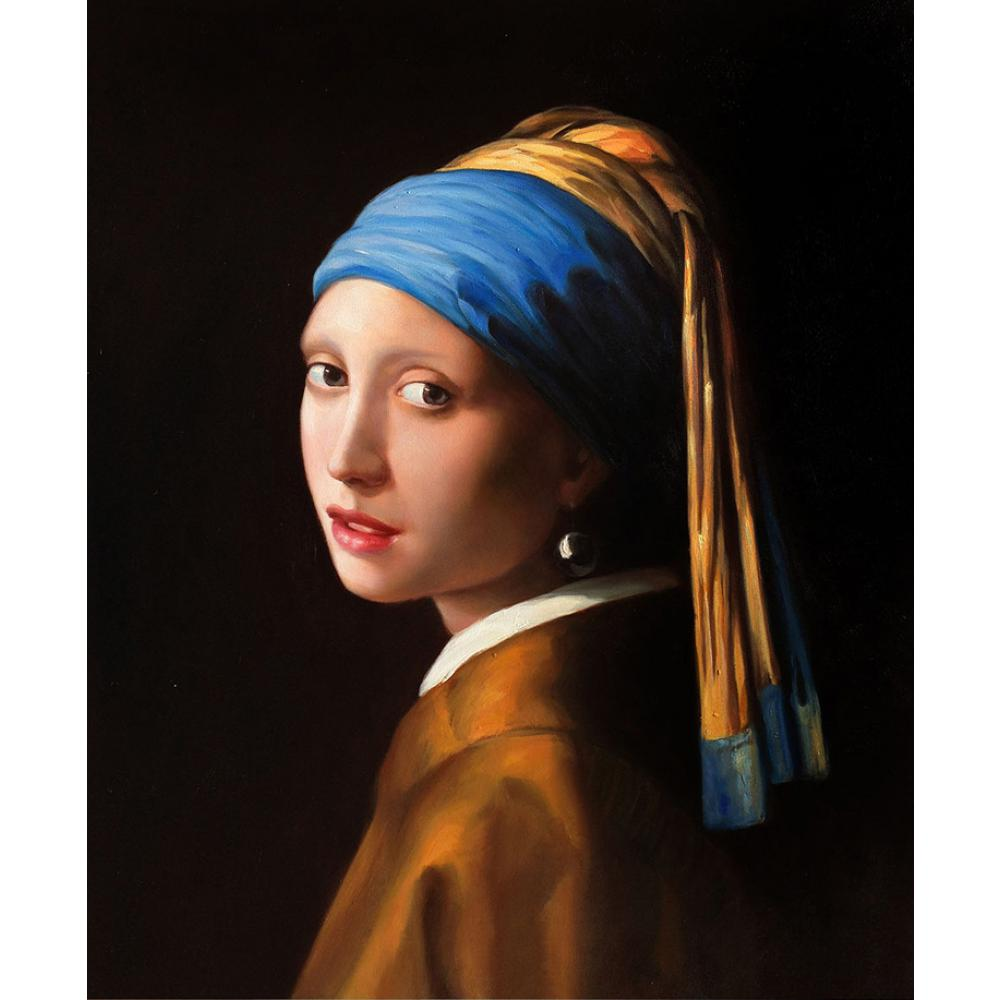 Portrait painting Girl with Pearl Earring Johannes Vermeer woman Figure oil paintings Hand painted Stretched Framed Canvas art hearth