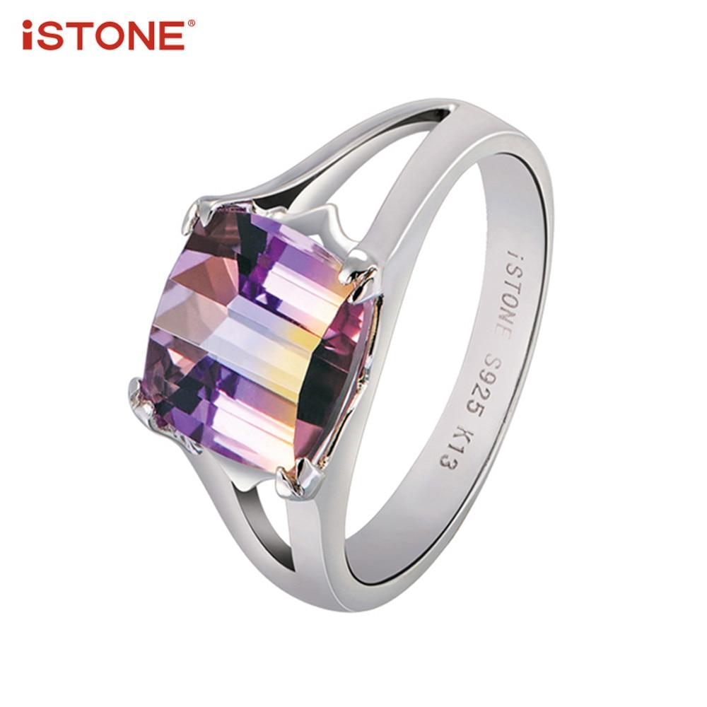 iSTONE Ametrine Square Shape 925 ստերլինգ արծաթե - Նուրբ զարդեր - Լուսանկար 1