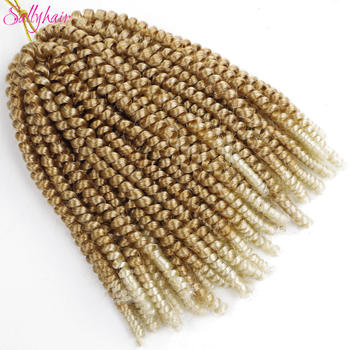 Sallyhair Crochet Braids Hair Ombre Braiding Spring Twist Colored Synthetic Extensions 30strands/pack 110gram - discount item  48% OFF Synthetic Hair