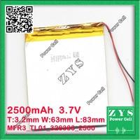 3.7V 2500mAh battery 326383 3.7 v 2500 mah Lithium Polymer Battery Li Po li ion For Mp3 DVD Camera GPS PSP bluetooth electronics