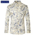 Casual Men Shirt Floral 2017 New Fashion  Long Sleeve Slim Fit Cotton Shirt Men High Quality  Plus Size 3XL 4XL 5XL