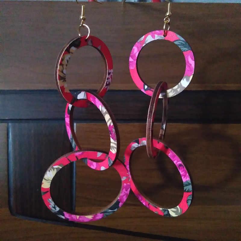 3 círculo Brincos Brincos de Madeira Pintura 3D Brincos Personalidade Amigável Presentes da Jóia De Madeira