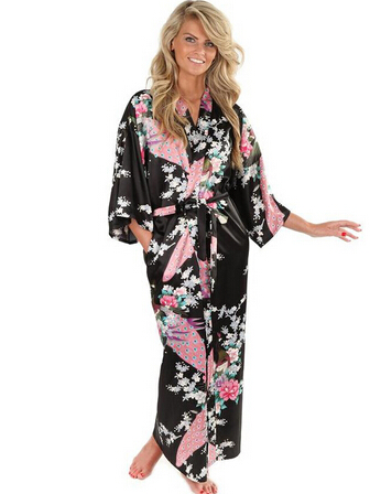 Brand New Black Women Silk Kimono Robes Long Sexy Nightgown Vintage Printed Night Gown Flower Plus Size S M L XL XXL XXXL A-045