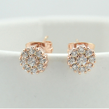 Full Crystals of Austria Round flower Earrings Gold color Zircon Crystals Stud Earring for Women Wedding Party Jewelry 980