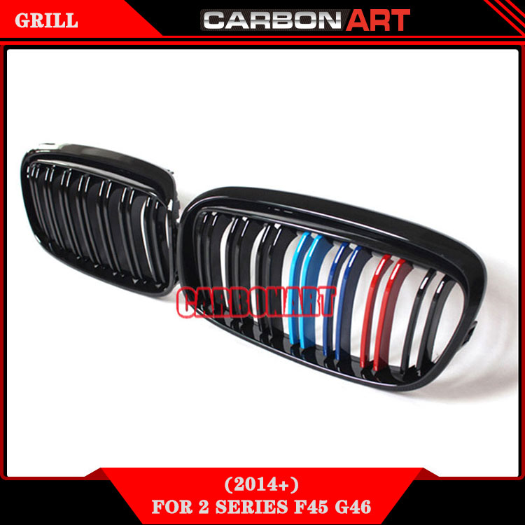 Glossy black M color double slat design kidney style car front ...
