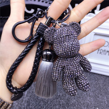 2019 New Luxury Handmade Rhinestones Crystal Bear Keychain Leather Tassel Car Keyring Key Chain Jewelry Gifts 8CM