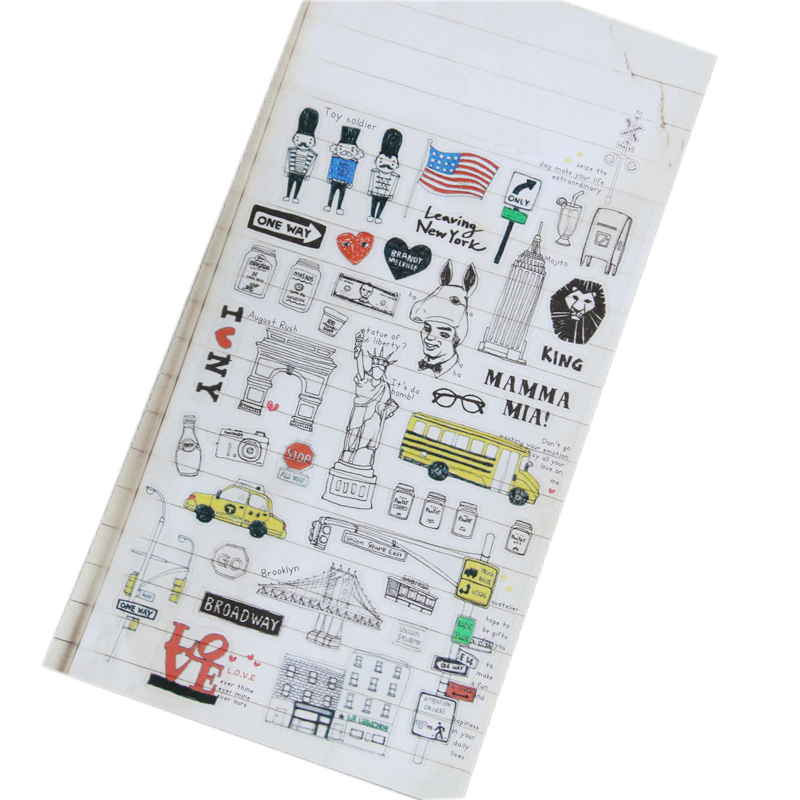 1 Pcs New York Holiday Korean Sonia Stickers Cellphone Decal Diary Calendar Decorative Toy Sticker Flakes 1012
