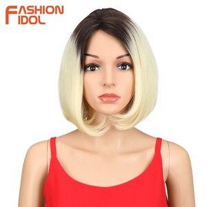IDOL mody proste włosy Bob peruka krótka włosy syntetyczne peruki dla czarnych kobiet 10 Cal Ombre blond żaroodporne Cosplay peruki