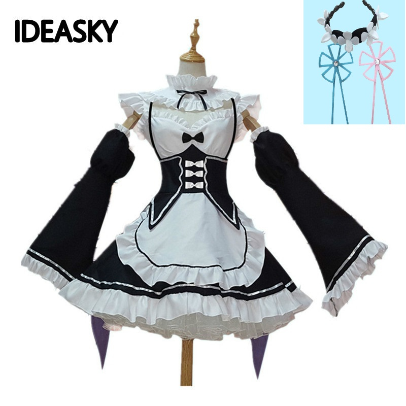 Re Zero Ram And Rem Cosplay Re: Zero Kara Hajimeru Isekai Seikatsu Relife Maid Costume Cosplay Lolita Japanese Anime Costumes