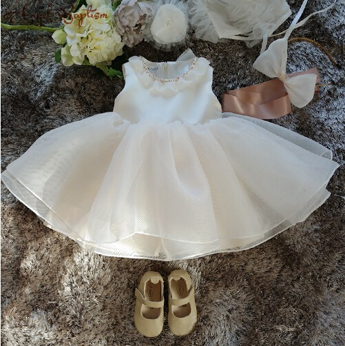 New Baby Girl Christening Dresses Solid White Pearls Lace Formal Long Style 1 Year Birthday Baptism Gown Vestidos
