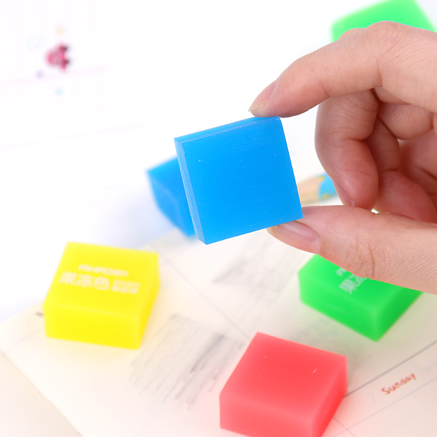 1PC Kawaii Stationery Jelly Color Eraser Student Prizes Gift Solid Color Pencil Eraser School Supplies