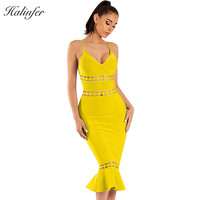 Halinfer 2018 New summer women dress sexy bodycon v neck bandage dress celebrity party blue yellow fishtail dresses vestidos