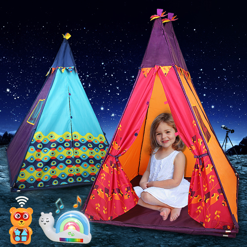 Kidsrun Tent Baby Toys for Children Foldable Teepee Kids Poms Indian Play Tent House Children Tipi Tee Pee Tent Indoor Outdoor red chevron canvas dog tent house pet teepee tipi dog tee pee cat teepee
