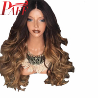 PAFF T1b/4/27 150% Density Human Hair 4*4 Silk Top Full Lace Wigs Ombre Color Body Wavy Middle Part For Women Natural Hairline