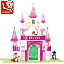 Sluban Model building kits compatible with lego city Dreamlike Palace Castle 737 3D blocks Educational toys hobbies for children