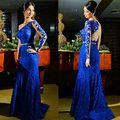 Azul Vestido de noche largo 2015 de un hombro palabra de longitud de encaje de baile Vestido de festa