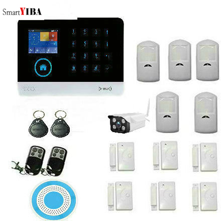 SmartYIBA Wifi GSM IOS Android APP Wireless Home Burglar Security Alarm System RFID Keyfobs Wireless Outdoor IP Camera Siren wireless smoke fire detector for wireless for touch keypad panel wifi gsm home security burglar voice alarm system