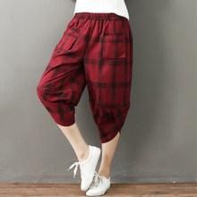 MISSMEOW womens pantsCasual harem pants summer high waist women loose Plaid cotton Linen trousers