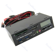 USB 3.0 All-in-1 5.25″ Muiti-function Media Dashboard Front Panel Card Reader  Drop Shipping