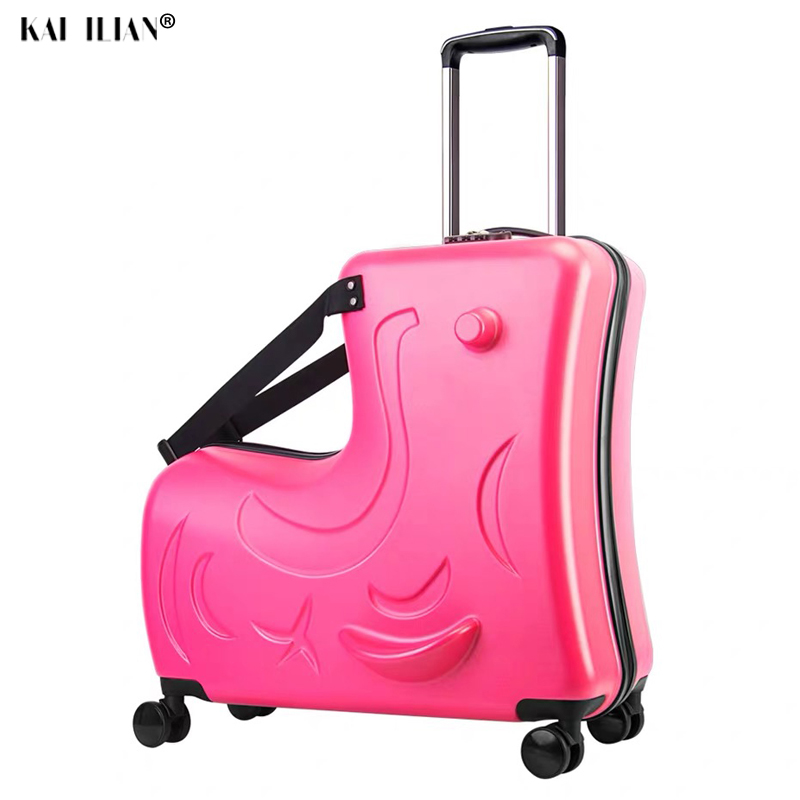 Children Rolling Luggage Spinner Wheels Suitcase Kids Cabin Trolley Travel Bag Child Cute Baby Carry On Trunk Can Sit To Ride