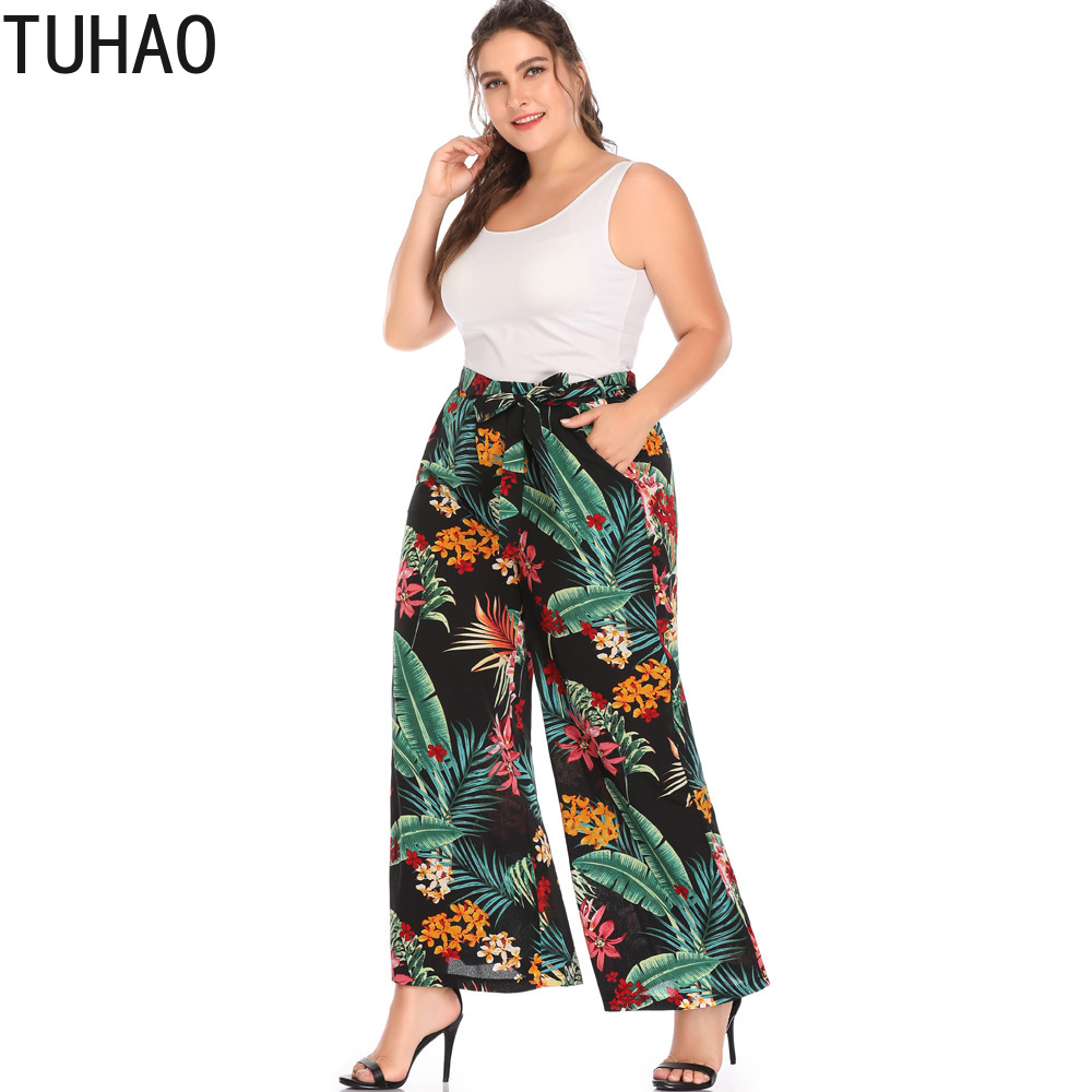 TUHAO Big Size 4XL 5XL Pants Women Print Bohemian Beach Wide Leg Pants Capri Large Loose High Waist Summer Trousers  HYMY