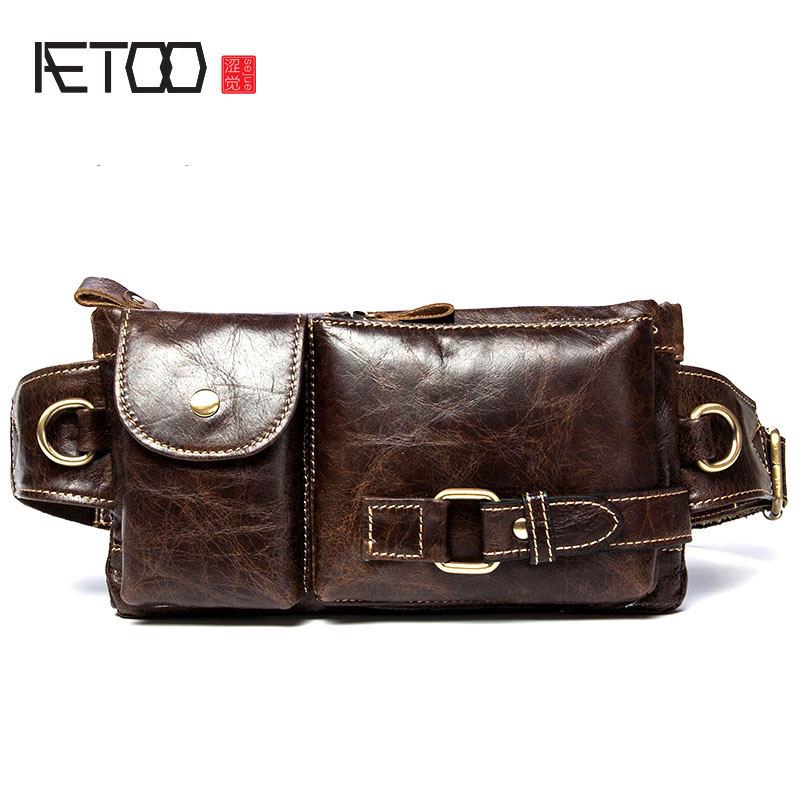 AETOO Retro first layer of leather waist bales shoulder Messenger bag leather chest bag men bag leisure package aetoo first layer of leather pockets of men bag leisure leather chest bag pockets