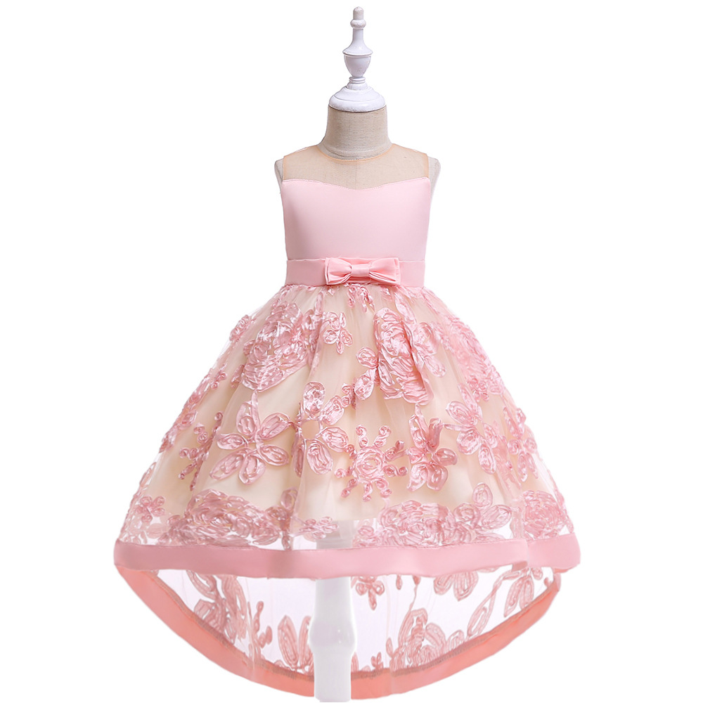 Hot Sale A-Line Sleeveless Lace Appliques High Low   Flower     Girl     Dresses