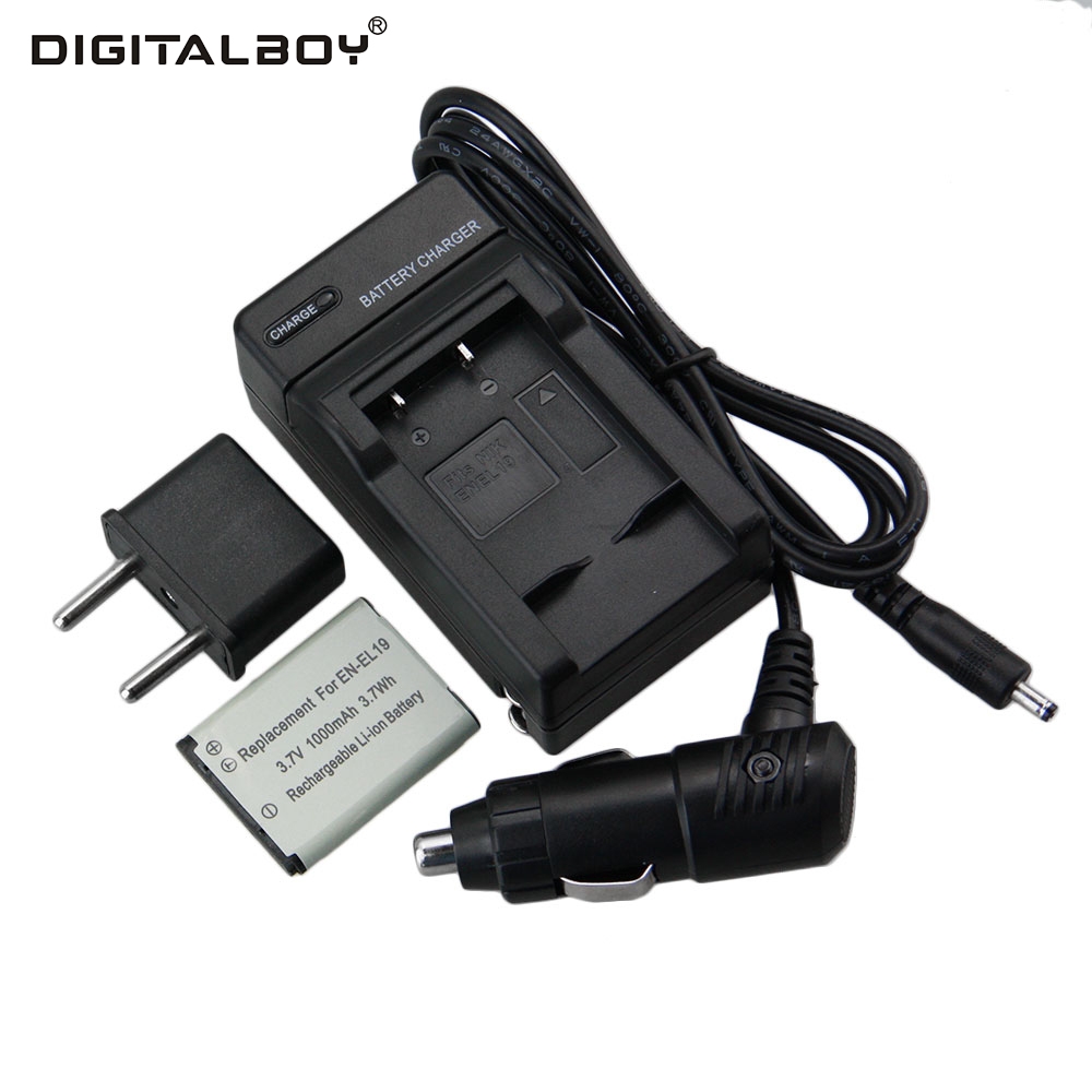 Digital Boy 1PCS EN-EL19 EN EL19 1000mAh Camera Battery+Charger+Car Charger+Plug for Nikon Coolpix S2500 S4100 S3100 z1 1200mah battery car charger us plug ac charger set for nikon en el12 coolpix s610