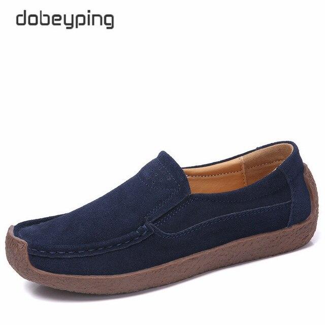 Dobeyping primavera outono sapatos mulher deslizamento em tênis de couro de vaca camurça apartamentos casuais mocassins femininos sapato feminino