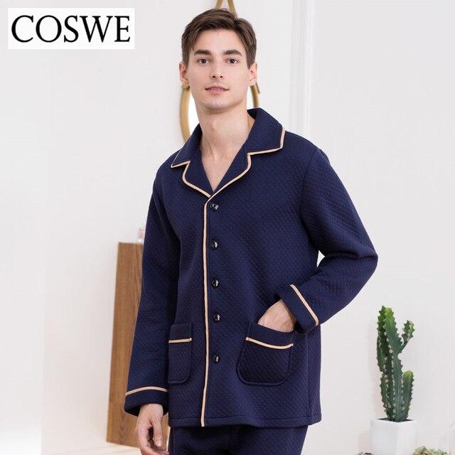 dec5cde90b COSWE New Winter Cotton Pajama Men Long Pajamas Sets Masculinos Pijamas  Suits Comfortable Mens Sleepwear Male Pyjamas Homewear