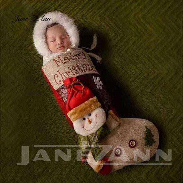 Jane Z Ann Baby photo costume newborn photo cartoon knitted handmade Christmas theme sleeping bag with hat studio accessories 1