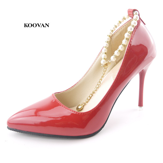 fcac5b7552569 Koovan Women Pumps 2017 Spring New Fashion Women Shoes Pointed High Heels  Shoes Fashion Thin Heels Pearl Wedding Shoes Red Pink