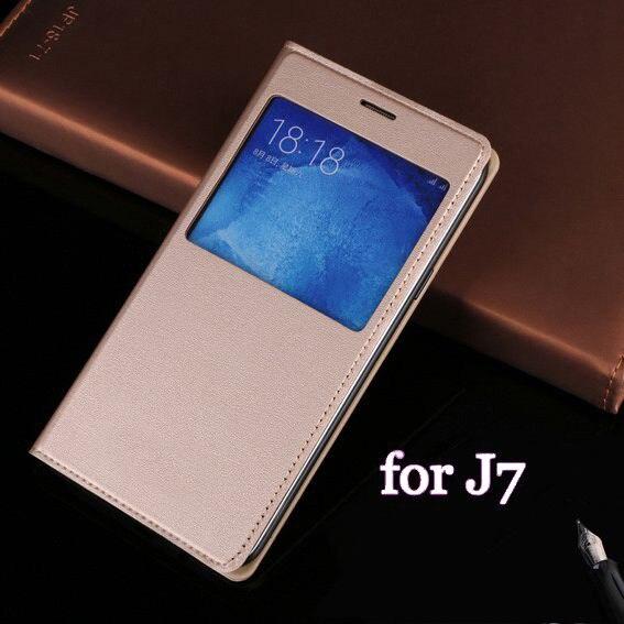 Zobrazit okno Flip Kožené pouzdro na telefon Ochranný kryt pouzdra na baterii pro Samsung Galaxy J7 2015 J700 J700F J700H