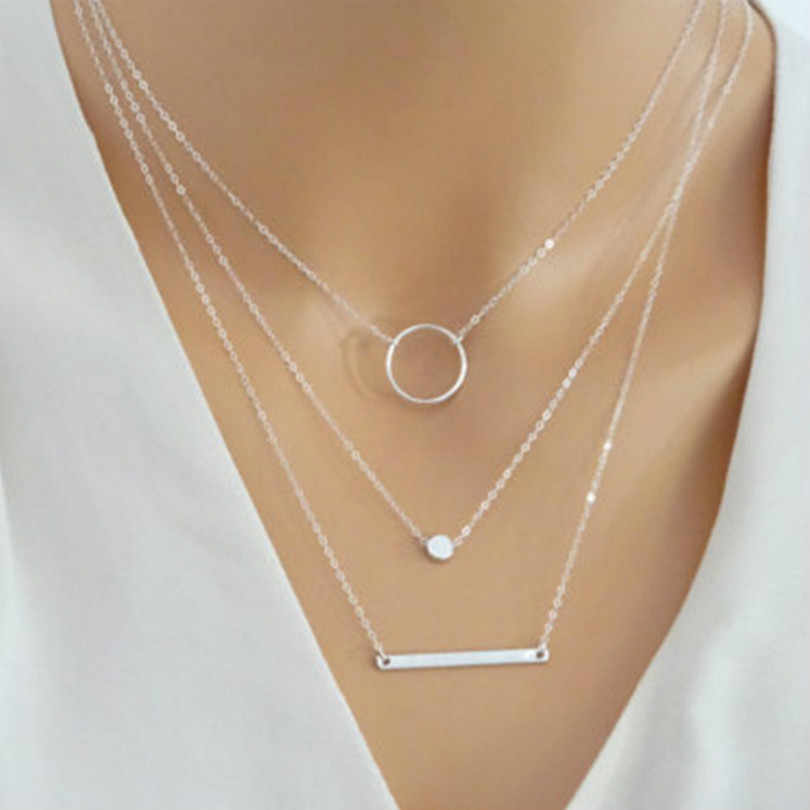 New Fashion Jewelry Wild Bohemian Necklace Gold Silver Layered Necklace Metal Rod Geometric Necklace Female Elegant Necklace