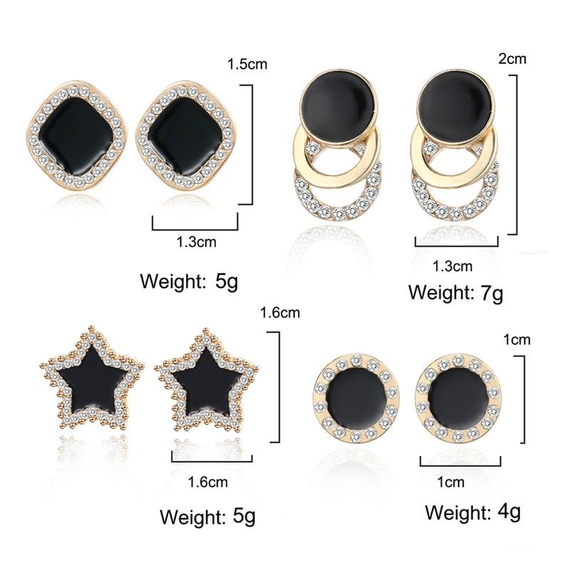Statement Earrings 2019 Black Square Geometric korean Earrings For Women Crystal Luxury Wedding Rhinestone Earring Gold Color in Stud Earrings from Jewelry Accessories