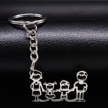 Family Stainless Steel Key Rings Jewelry Boy and Girl Mom Dad Silver Color keychain Christmas Gifts chaveiros K333S01