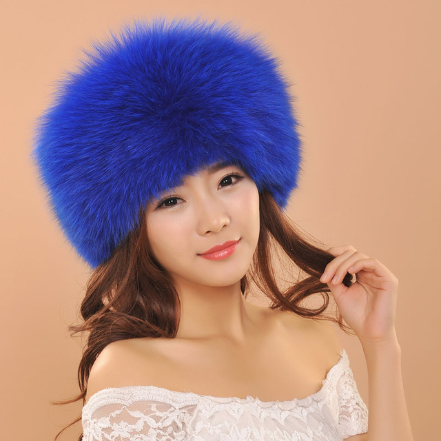 2016 Fur Cap For Women New Style Lady's Winter Fox Fur Luxury Hats For Girls Warm Cap