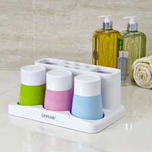 Creative Cute Toothbrush Holder with Wash Gargle Suit Plastic Bathroom Accessories Family Cup Dispenser Candy Color
