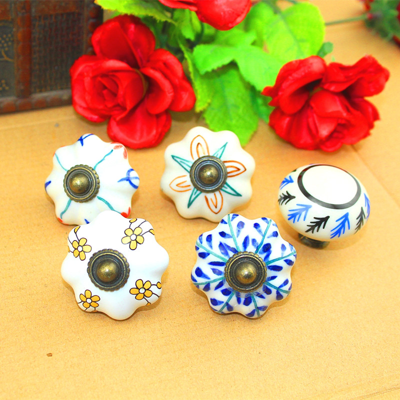 Bulk Vintage Furniture Handle Flower Head Ceramic Knobs and Handles Door Handle Cupboard Drawer Kitchen Pull Knob Furniture,40mm one piece vintage pastoralism pumpkin ceramic knob colorful kitchen ceramic door cabinets cupboard pulls handles