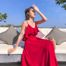 Boho Dress Women Sexy Beach Summer Sleeveless Vestidos Halter Strap Backless Long