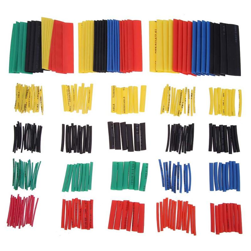 328pcs/set Heat Shrink Tubing Insulation Shrinkable Tube Assortment 2:1 Heat Shrink Tubing Wrap Wire Cable Sleeve Kit 5 Colors цена 2017