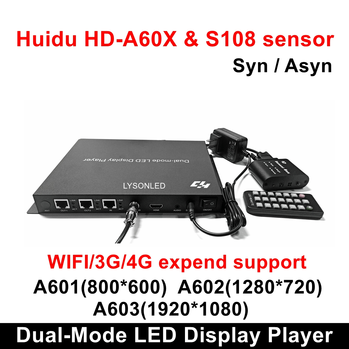 Huidu HD-A601 HD-A602 HD-A603 Full Color Sync-async Dual-mode LED Display Player With S108 Sensor Box,3G/4G/WiFi Expend Support