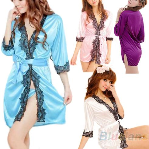 2016 hotSexy Lingerie Underwear Set Faux Silk Lace Work Sleepwear Bathrobe Bath Robe Nightgown for Women 4 Colors 8Q98
