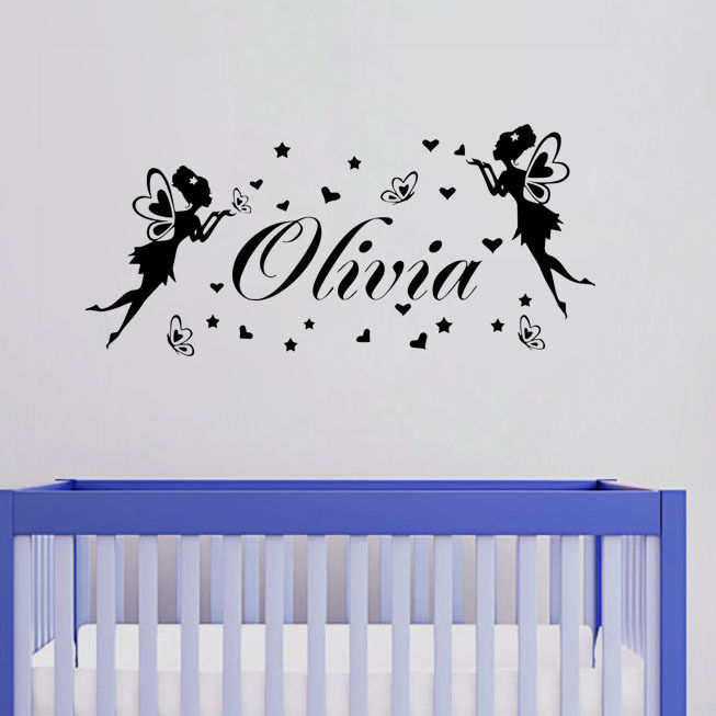 Hot Sale Butterflies Fairies Personalized Your Own Name Wall Sticker Vinyl Wall Decals For Girls Bedroom Art Decoration Y 597 in Wall Stickers from Home Garden